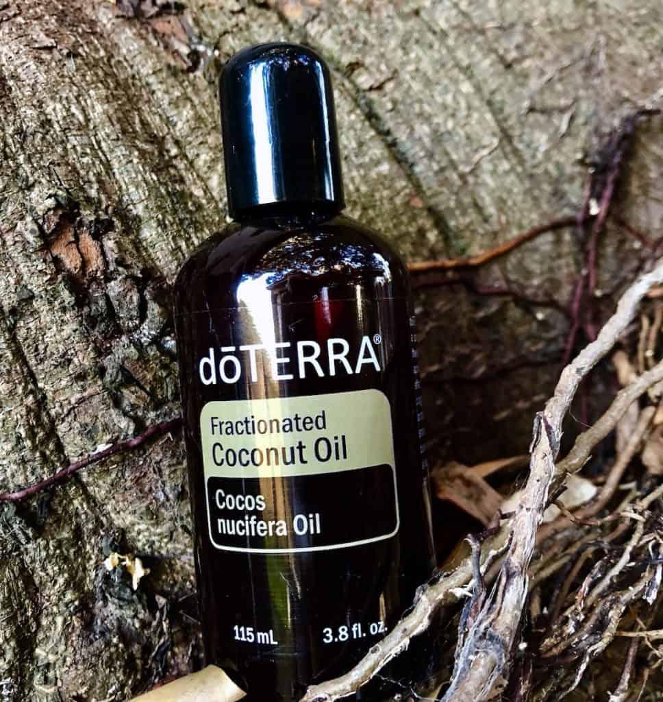 Bottle of Fractionated coconut oil. Used for natural skin care